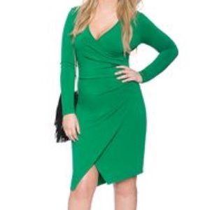 Eloquii Faux Wrap Dress Kelly Green Size 28 NWT